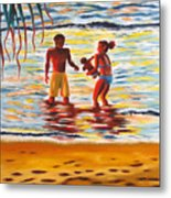 Play Day At Jobos Beach Metal Print
