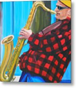 Play It Mr Sax Man Metal Print