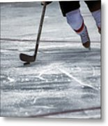 Player And Puck Metal Print