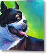 Playful Boston Terrier Metal Print by Svetlana Novikova