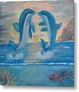 Playful Dolphins Metal Print