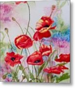 Playful Poppies Metal Print