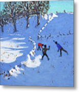 Playing In The Snow Youlgrave, Derbyshire Metal Print