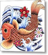 Playing Koi Metal Print by Maria Arango