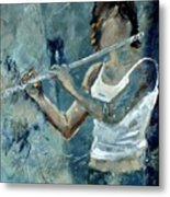 Playing The Flute Metal Print