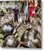 Playing With Giant Tortoises Metal Print