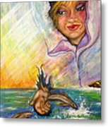 Playing With The Dolphins Metal Print