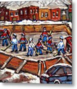 Playoff Time At The Local Hockey Rink Montreal Winter Scenes Paintings Best Canadian Art C Spandau Metal Print