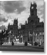 Plaza De Cibeles Fountain Madrid Spain Metal Print
