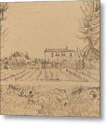Ploughman In The Fields Near Arles 1888 Metal Print