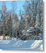 Plowed Winter Street In Sunlight Metal Print
