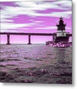 Plum Beach Lighthouse In Ir Metal Print