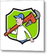 Plumber Holding Monkey Wrench Crest Cartoon Metal Print
