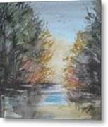 Pm River Sunset Metal Print