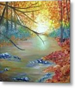 Pocono Creek In Autumn Metal Print
