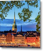 Poetic Stockholm Blue Hour Metal Print