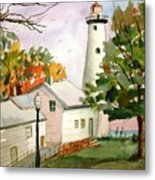 Point Aux Barques Lighthouse - Port Hope Mi Metal Print