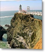 Point Bonita Lighthouse In Marin County California Metal Print