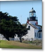 Point Pinos Lighthouse In Pacific Grove, California Metal Print