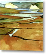 Point Reyes, Ca, Drakes Beach Estuary, Midday Tide, Watercolor Plein Air Metal Print