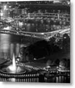 Point State Park In Black And White Metal Print