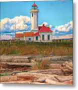 Point Wilson Lighthouse And Driftwood Metal Print