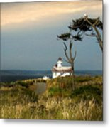 Point Wilson Lighthouse Puget Sound Watercolor Metal Print