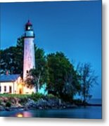 Pointe Aux Barques Lighthouse At Dawn Metal Print