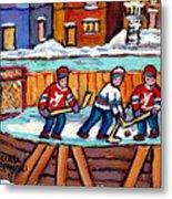 Outdoor Hockey Rink Painting  Devils Vs Rangers Sticks And Jerseys Row House In Winter C Spandau Metal Print