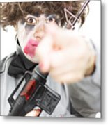Pointing Crazed Lunatic Metal Print
