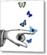 Pointing Finger With Blue Butterflies Metal Print