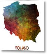 Poland Map Polska Map Metal Print