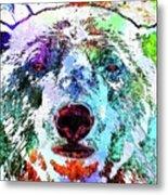 Polar Bear Colored Grunge Metal Print