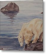 Polar Bear Fishing Metal Print