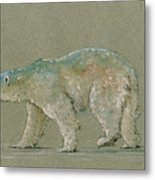 Polar bear original watercolor painting art Metal Print