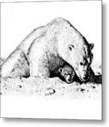 Polar Bear Protects Her Young Metal Print