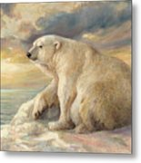 Polar Bear Rests On The Ice - Arctic Alaska Metal Print
