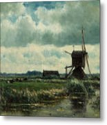 Polder Landscape With Windmill Near Aboude Metal Print
