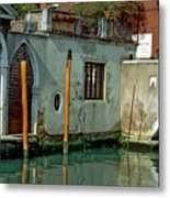Poles On Canal In Venice Metal Print