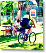 Police Officer Rides A Bicycle Metal Print
