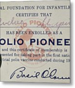Polio Certificate, 1954 Metal Print