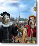 Polish Lowland Sheepdog Art Canvas Print - Prince And Princess Of Orange Metal Print