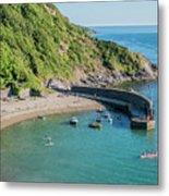 Polkerris Beach And Harbour Metal Print