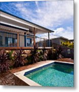 Poll And House With Deck Metal Print