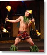 Polynesian Fire Dancing Metal Print