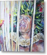 Polynesian Maori Warrior With Spears Metal Print