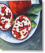 Pomegranates On A Plate  Metal Print