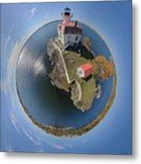 Pomham Rocks Lighthouse Little Planet Metal Print