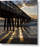 Pompano Beach Fishing Pier At Sunrise Florida Sunrays Metal Print