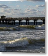 Pompano Beach Fishing Pier At Sunrise Florida Sunrise Waves Metal Print